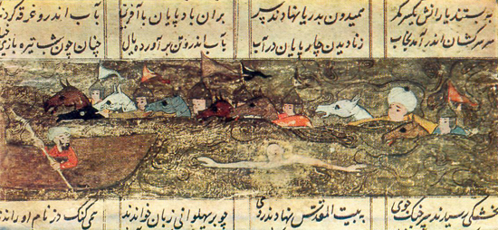 Muhammad   Murad   Samarkandi FERIDUN   AND   HIS   MEN   CROSS   THE ERVEND (TIGRIS), Firdawsi. «Shah-nama»