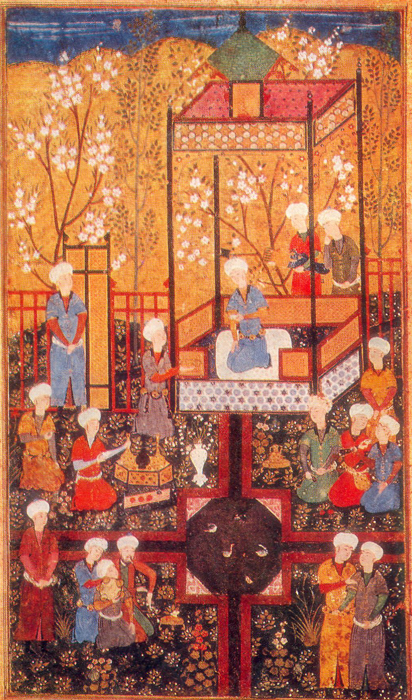 KUAN IN THE ARBOUR WITH COURTIERS AND MUSICIANS