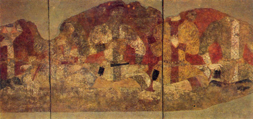 FEAST OF FEUDAL LORDS. Mural painting. The Black Hall. Penjikent. 7th-8th century