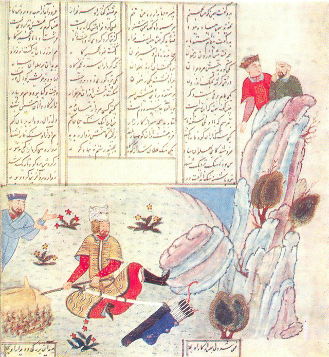 RUSTAM  PUSHES  BACK  THE  STONE BAKHMAN HAS THROWN DOWN ONHIM, Firdawsi. «Shah-nama»