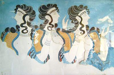 Минойская цивилизация - культура, архитектура, искусство - Фреска из Кносского дворца с изображением женщин