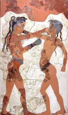 Минойская цивилизация - культура, архитектура, искусство - Боксирующие мальчики, фреска из Санторини