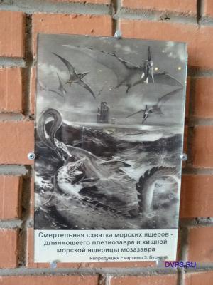 Смертельная схватка морских ящеров - длинношеего плезиозавра и хищной морской ящерицы мозазавра